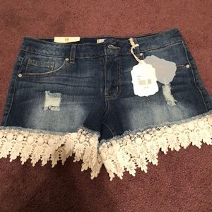 Altered state lace denim shorts